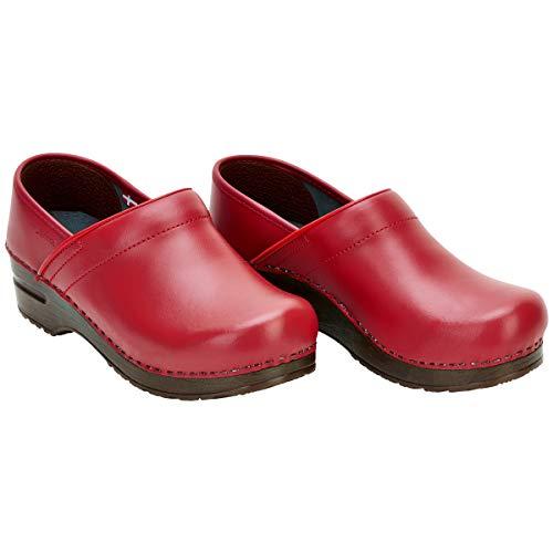 Sanita | Izabella geschlossener Clog | Original handgemacht für Damen | Anatomisch geformtes Fußbett mit weichem Schaum | Rot | 40 EU