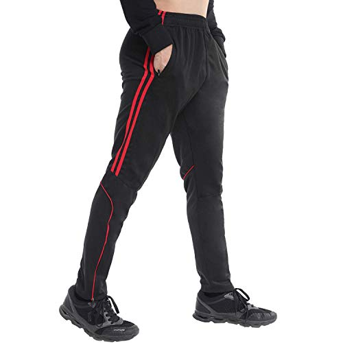 FITTOO Mens Athletic Sweat Pants Stripe Slim Workout Trousers Zipper Pocket Jogger Bottom with Side Taping