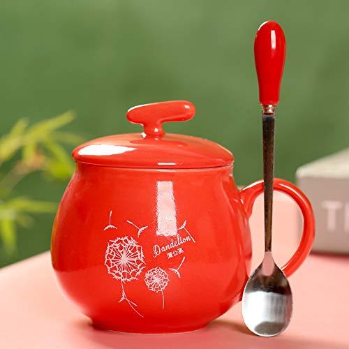 WANGSHI Keramik-Becher Mit Einem Deckel Löffel Paar Frühstück Tasse Milch Tasse Haushalt Kaffee Tasse Wassertasse Bedecken Sie den Stahllöffel Löwenzahn ist fett und rot