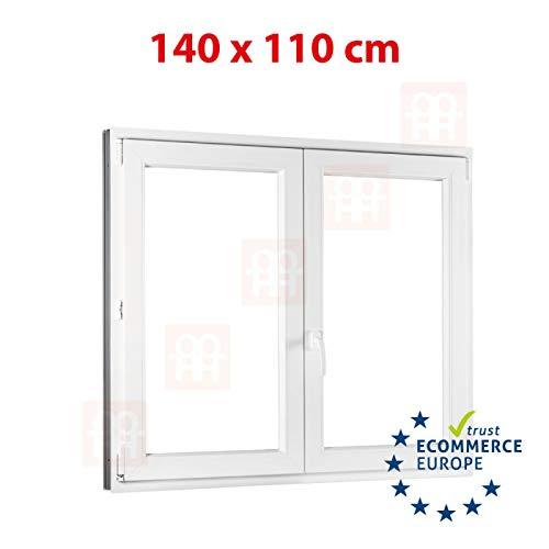 Kunststofffenster | 140x110 cm (1400 x 1100 mm) | weiß | Zweiflügelige ohne Pfosten | rechts