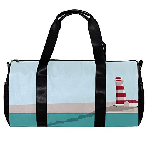 Bolsa de deporte redonda con correa de hombro desmontable para playa, verano, faro, entrenamiento, bolsa de noche para mujeres y hombres