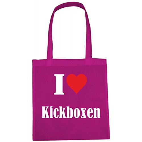 Tasche I Love Kickboxen Größe 38x42 Farbe Pink Druck Weiss