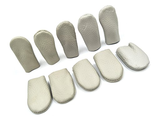 INNETOC 10 Pair - Needle Felting Leather Gloves Finger Protector Craft Tools Cowhide Leather Thumb Guard Thimble for Protecting Your Fingers Essentially DIY Handmade