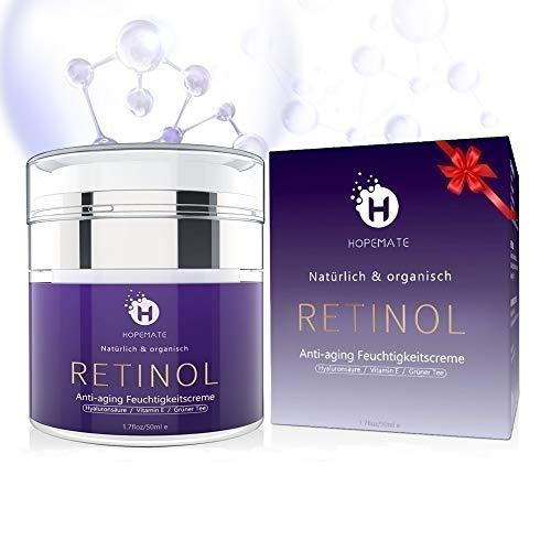 Retinol Feuchtigkeitscreme Creme, Anti-Aging & Anti Falten Creme von HOPEMATE für Gesicht & Augen, für Tag & Nacht, mit 2,5{e1f46ed0617c697d1b35ab77e289a58a08e27352b15776b83bcfc34392256532} Retinol + Hyaluronsäure + Vitamin E + Grüner Tee + Jojobaöl, 50ml