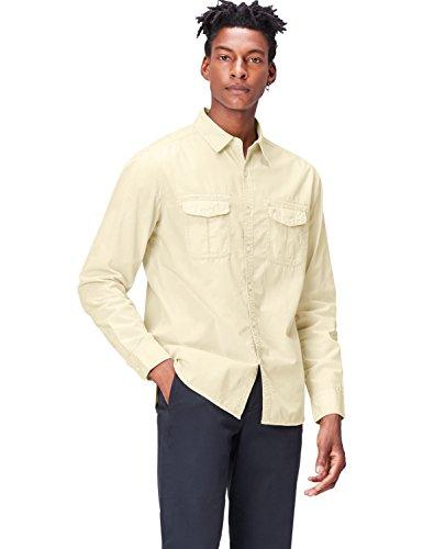 FIND Camisa Estilo Safari de Corte Estándar para Hombre, Beige (Sand), Large