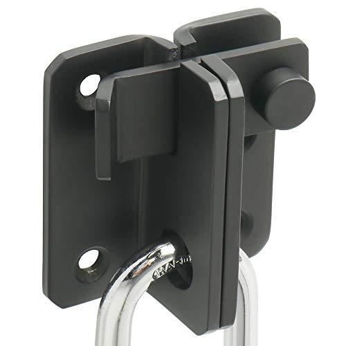 SAYAYO EMS3006R-B-FR - Cerradura de puerta corredera con cerradura de bloqueo, gancho antirrobo, acabado negro mate en acero inoxidable, EMS3006R-B-FR