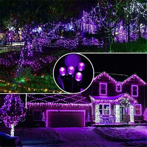 Solar Halloween String Lights Outdoor - 72ft 200 LED 8 Modes Fairy String Lights, Waterproof LED Purple Lights for Garden, Patio, Fence, Holiday, Party, Balcony, Christmas Tree Decorations (Purple)
