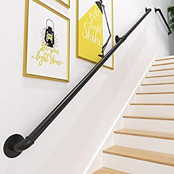Rustic Industrial Pipe Handrail 1ft-20ft  Professional Wrought Iron Pipe Banister Rail Wall Support Railing Outdoor Indoor Stairs Porch Deck Hand Rail  Black   Size   11ft