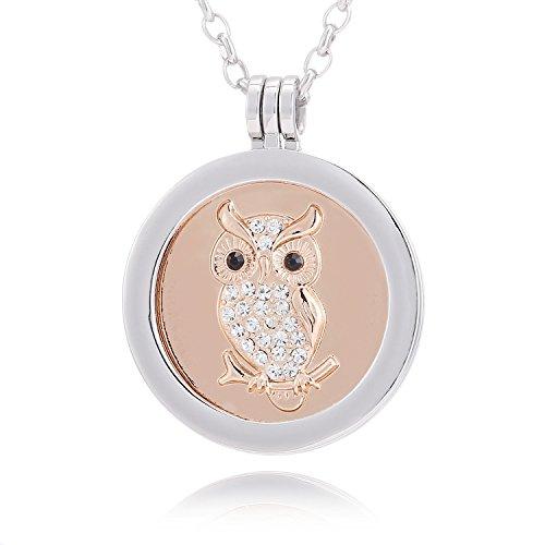 Morella® Damen Halskette 70 cm Edelstahl und Anhänger mit Coin Eule Rosegold 33 mm im Schmuckbeutel