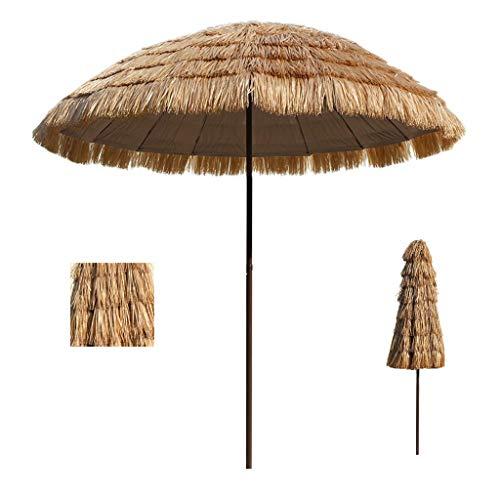 WRJ@ 2,5 m tropischer Hawaii Strand Stroh Sonnenschirm, wasserdichter Regenschirm im Freien, geeignet für Garten Pool Terrasse Sonnenschirm