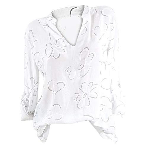 VJGOAL Femmes Plus Taille Fleur Imprimer Long Manche Support Col Chemisier Chemise Pull Chic éLéGant Automne Tops Shirt 5XL(FR-50/CN-3XL,Blanc)