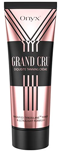 Onyx Grand Cru Advanced Sunbed Dark Tanning Intensifier Magnified Tan Accelerating Power Lightweight Non-Sticky Formula Panthenol Aloe Avocado Almond Oil