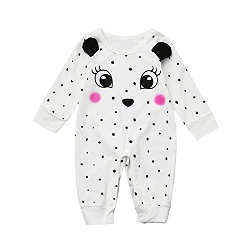 Digood Toddler Newborn Baby Girls Boy Twins Bear Deer Cute Dot Print Romper Jumpsuit Outfits Clothes (18-24 Months, White)