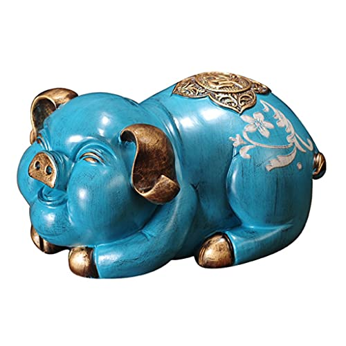 Organizadores de Bolso Cambiar Tanque De Almacenamiento Hucha Hucha Creativa Hucha De Cerdo del Zodiaco Alcancía Dormitorio Sala De Estar (Color : Blue, Size : 9.8 * 6.3 * 5.1 Inch)