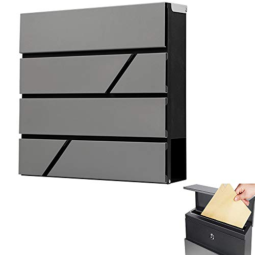 Mailbox Wall Mounted Vertical mailboxes with Key Lock, Locking Outdoor Mailboxes Large Capacity Mailbox
