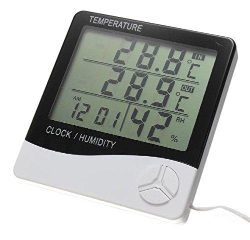 Termohigrómetro digital con sonda para cultivo de interior, estación meteorológica, resolución 0,1 °C y 1% humedad relativa, descubre la temperatura real de tus cultivos con la función Mín/Má
