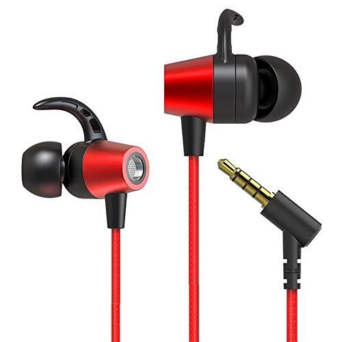 FAGavin Deportes Sonido De Alta Fidelidad En La Oreja Los Auriculares con Cable De 3,5 Mm De Micrófono Auriculares del Receptor De Teléfono For El Juego Running (Rojo/Gris Plata) (Color : Red)