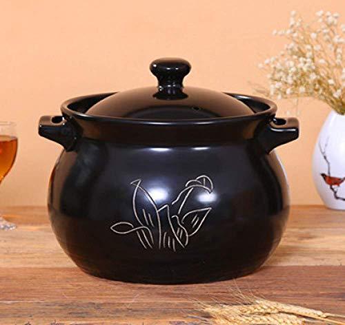 LIUSHI Home Stock Brühe Keramik Topf, Steinzeug Slow Cooker, Gas Topf - Chinesischer Steinzeug Topf, 6L