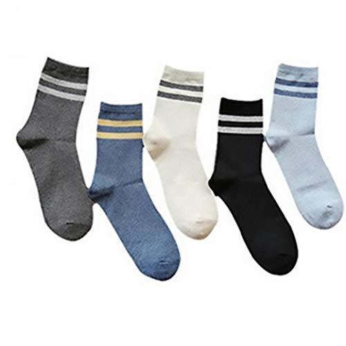 Aisoway Mid Cut Socken Weinlese-Streifen Cotton Socken Winter-Sport Soxs 5 Paare