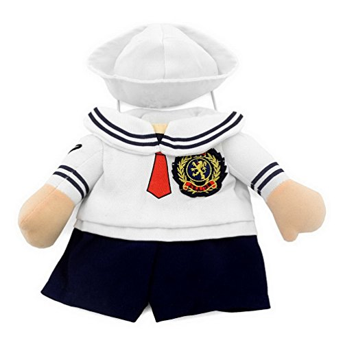 smalllee _ LUCKY _ Store pour petit chien vêtements pour filles garçons pour chat/chien Sailor Costume avec Chapeau Bleu marine toutes saisons Blanc