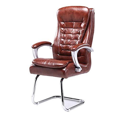 WSDSX Stuhl Computerstuhl PU-Leder Büro mit hoher Rückenlehne Chiar Bow Foot Ergonomischer Computertisch Stuhl Eingebautes Federpaket Tragfähigkeit: £ 360, Braun