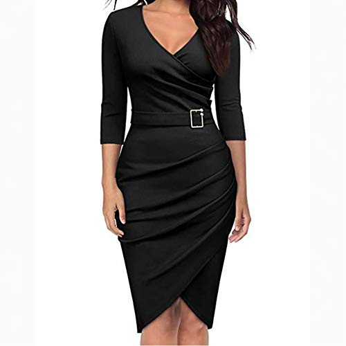 DELI Dame Büroarbeit Kleid FrauenSolide V-Ausschnitt Hülse Mit DREI Vierteln Etuikleid Asymmetrischer Saum Dünnes Schößchen-Kleid