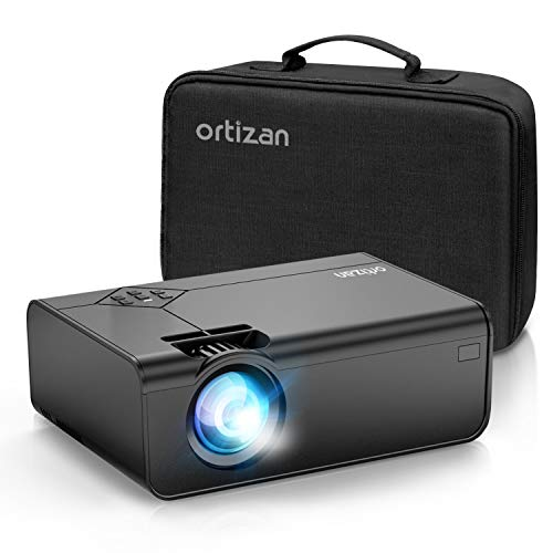 """Ortizan Mini Projector, Portable Movie Projector Full HD 1080P & 200"""" Display Supported, 5000 Lux 50002 Hours LED Lamp Life Video Projector Compatible with TV Stick, HDMI, VGA, TF, AV and USB(Black)"""