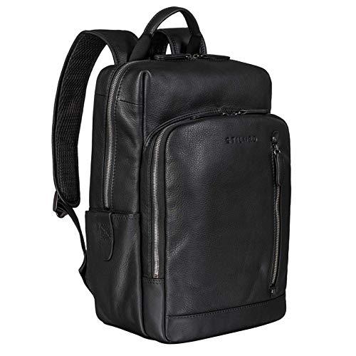 STILORD 'Johnson' Lederrucksack Herren Business Vintage Rucksack für 13,3 Zoll MacBook Laptoprucksack Moderner Daypack für Uni Arbeit Office Echt Leder, Farbe:schwarz