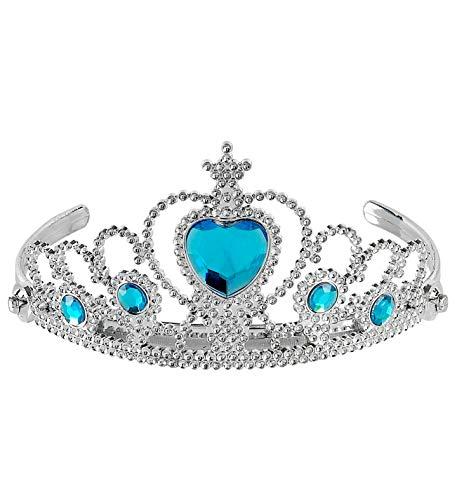 shoperama Diadème avec pierres précieuses argentées et turquoises - Reine de la Reine des Neiges Elsa - Couronne de contes de fées