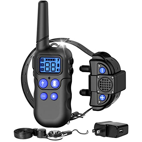 F-color Dog Training Collar, 2020 Upgraded Waterproof Dog Collar with Remote 2600 Feet, with 4 Modes Walkie-Talkie Light Beep Vibration, Rechargeable Dog Collar for Large Medium Small Dogs