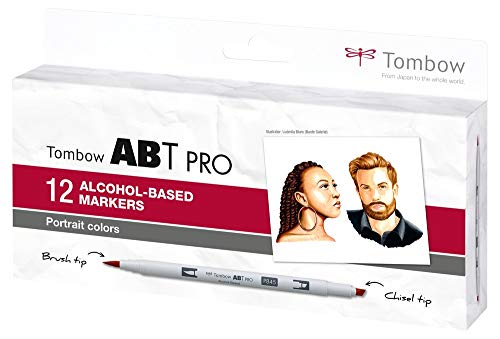 Tombow ABTP-12P-6 - Pennarello a base di alcol ABT PRO, con doppia punta per ritratti, colori assortiti
