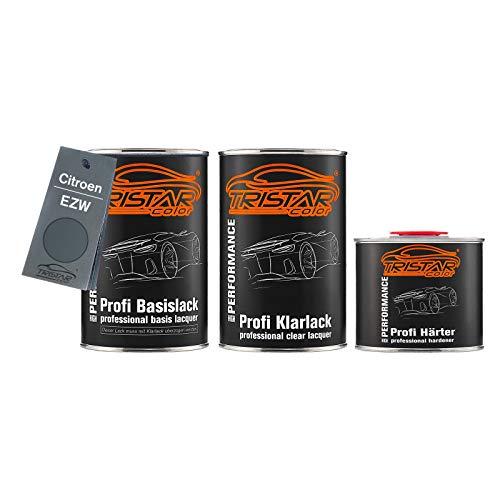 TRISTARcolor Autolack Set Dose spritzfertig für Citroen EZW Gris Fer Metallic/Eisengrau Metallic Basislack + 2K Klarlack 2,5L