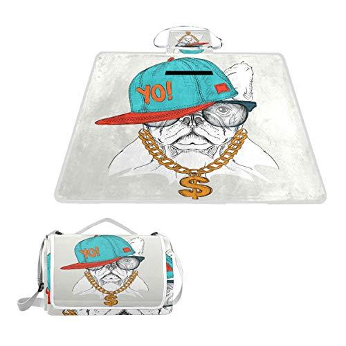 TIZORAX Couverture de Pique-Nique Pliable pour extérieur Motif Hipster et Bouledogue en Portrait