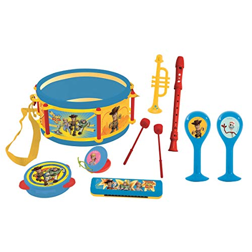 Lexibook Toy Story 4 Woody Buzz Musikspielzeug, Musik-Set, 7 Musikinstrumenten (Trommel, Maracas, Castanet, Harmonika, Blockflöte, Trompete, Tamburin), Spielzeug Bequem zu tragen, Blau/Gelb, K360TS