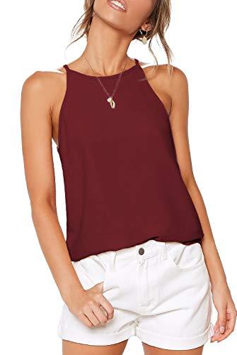 ZJCT Womens Tops Sleeveless Halter Neck Summer Casual Shirts Basic Tee Shirts Halter Cami Top Beach Tank Tops Burgundy L