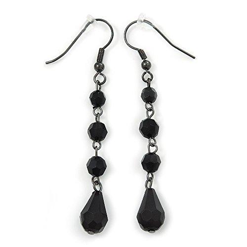Black Acrylic Bead Drop Earrings In Gun Metal - 6cm Length