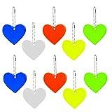 10 ciondoli catarifrangenti con anello portachiavi a forma di cuore, riflettori di sicurezza per bambini, per zaini, giacche, zaini, ciclismo, passeggiate, corsa, passeggini