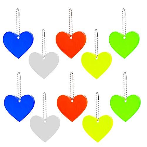 10 colgantes reflectantes con llavero, colgante de corazón, reflectores de seguridad para niños, para mochilas, chaquetas, mochilas, ciclismo, caminar, correr o cochecito