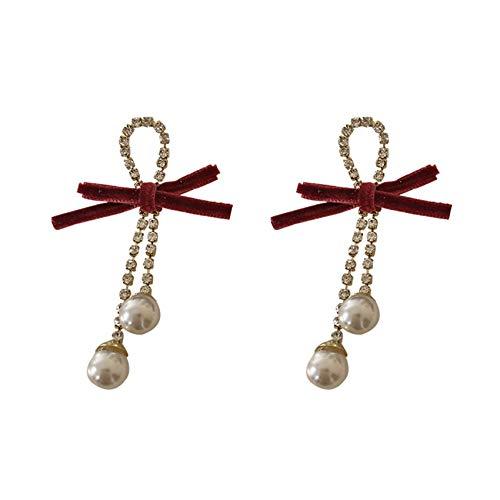 Terciopelo Rojo Perla Rhinestone Cadena Cadena Pendientes Pendientes Para Las Mujeres Niñas Niñas Banquete Lujo Pendientes Lujo Pendientes Regalos
