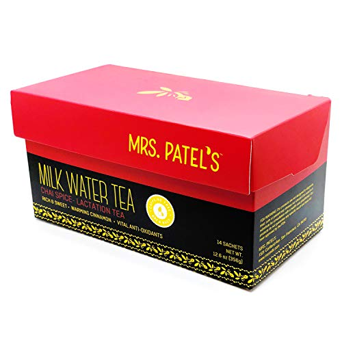 Mrs. Patel's Lactation Tea, Chai Spice Blend, Rich & Sweet, For Breastfeeding and Pumping Moms, Drink Iced or Hot, Caffeine Free, Gluten Free, Dairy Free, Fenugreek Free (14 Large Tea Bags)