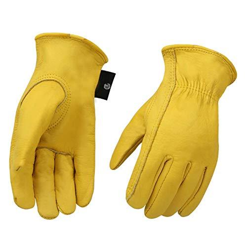Leder Schaffell Handschuhe Outdoor Sport Schutzhandschuhe (Gartenarbeit, Klettern, Krabbeln, Reiten, Fahren), rutschfest, verschleißfest, bequem und weich, gelb, 1 Paar