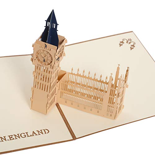 Handmade 3D Pop Up Cards - Big Ben Handmade Pop Up Greeting Card for Your Loved Ones, Wedding Anniversary Card for Couple, Valentine Day, Happy Birthday Cards
