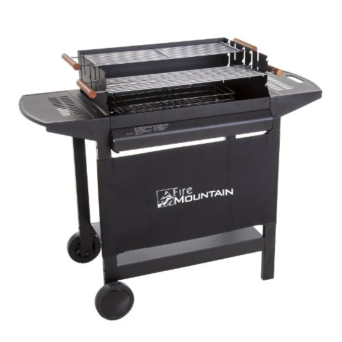 Fire Mountain Deluxe Charcoal Barbecue with Adjustable Chrome Steel Grills