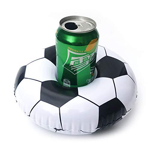BEAUTOP Aufblasbare Getränkehalter, Getränkehalter, aufblasbare Tasse Untersetzer für Pool-Party Spielzeug (Fußball, Wassermelone, gelbe Ente, Lippen, Kokosbaum, Ananas), fußball