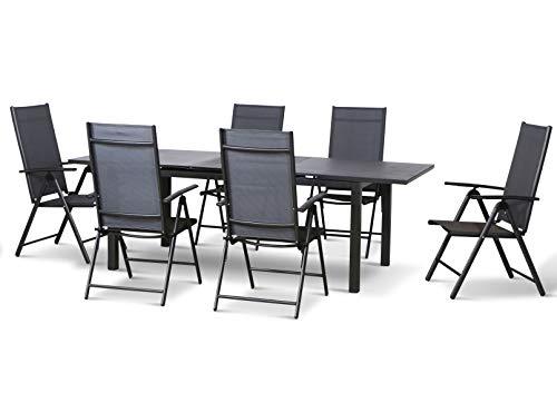 Siena Garden 7-teilige Aluminium Textilen Gartenmöbelgruppe EL Paso, 6 Klappsessel Bolero und EIN Ausziehtisch Miros 180/240x90 mit Spraystone Platte, anthrazit