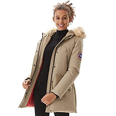 PUREMSX Women Insulated Qulited Parka Hooded Solid Casual Club Coat with Multi Pockets Cold Weather Skiing Hiking Hunting Camping Waterproof Jacket Ladies Gifts for Girlfriend, Beige,Medium
