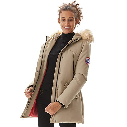 PUREMSX Women's Stylish Thickened Down Alternative Jacket Winter Mid Length Hooded Performance Hiking Fishing Skiing Outdoor Activities Puffer Quilted Extremely Warm Parka,Beige,X-Large