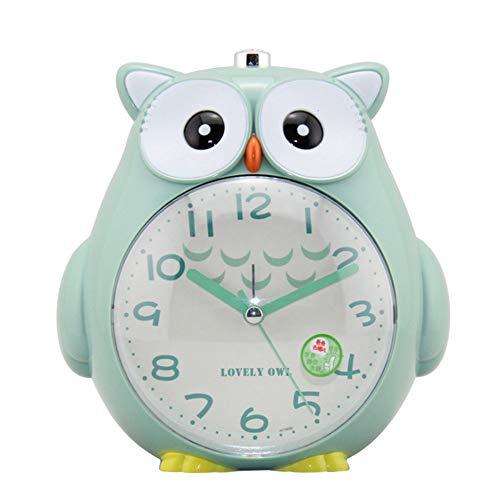 geneic Kinderwecker, Ohne Ticken Wecker,Cute Eule Doppelglockenwecker stille Uhr mit,Licht Glühende Clock Sprachansagen Wecker ,einfach einzustellen und batteriebetrieben Kindertagesgeschenk(Grün)