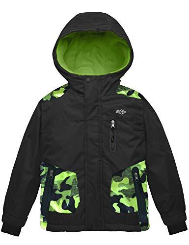 Wantdo Boy's Waterproof Thicken Ski Jacket Winter Coat Quilted Parka Black 10/12