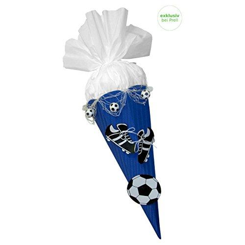 Schultüte Bastelset Fußball blau-weiß - Zuckertüte - aus 3D Wellpappe, 68cm hoch, mit vorgedruckten Motiven und Netz